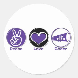 Peace Love Cheer Purple Round Stickers