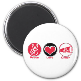 Peace Love Cheer Red 2 Inch Round Magnet