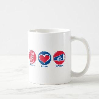 Peace Love Cheer Red/Blue Coffee Mug