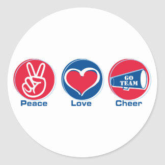 Peace Love Cheer Red Blue Stickers