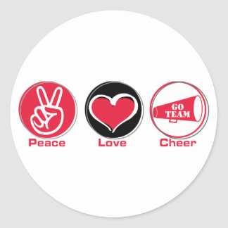 Peace Love Cheer Red Classic Round Sticker