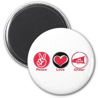 Peace Love Cheer Red Fridge Magnet
