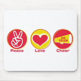 Peace Love Cheer Red/Yellow Mouse Pad