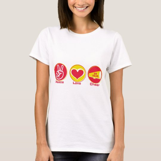 Peace Love Cheer Red/Yellow T-Shirt