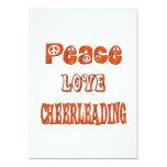 Peace Love Cheerleading 5x7 Paper Invitation Card