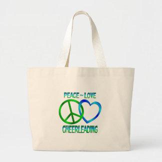Peace Love CHEERLEADING Tote Bags