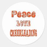 Peace Love Cheerleading Classic Round Sticker