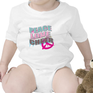 Peace, Love, Cheerleading Gifts Baby Bodysuits