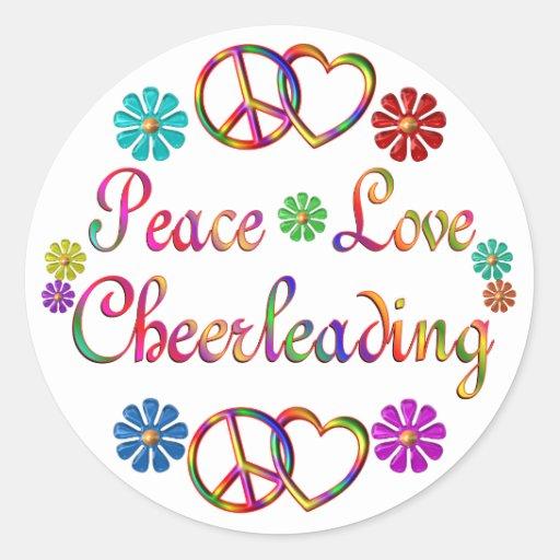 PEACE LOVE CHEERLEADING ROUND STICKER