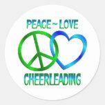 Peace Love CHEERLEADING Round Stickers