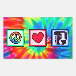 Peace, Love,  Chemistry Rectangular Sticker