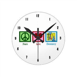 Peace Love Chemistry Round Clock