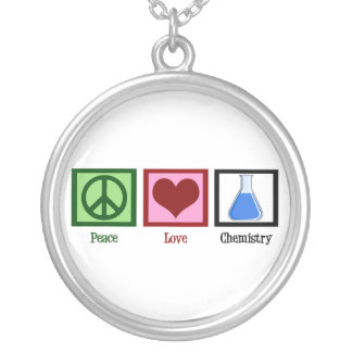 Peace Love Chemistry Silver Plated Necklace