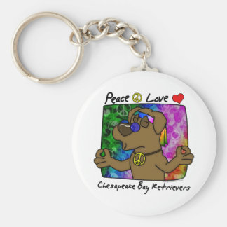 Peace Love Chesapeake Bay Retriever Keychain