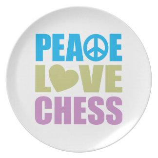 Peace Love Chess Melamine Plate