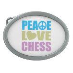 Peace Love Chess Oval Belt Buckle