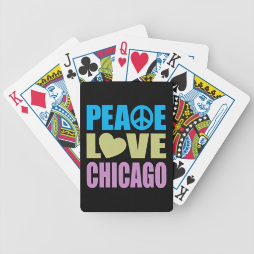 Peace Love Chicago Bicycle Playing Cards