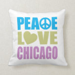 Peace Love Chicago Throw Pillow