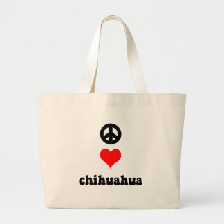 Peace love Chihuahua Large Tote Bag