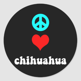 Peace love Chihuahua Round Stickers