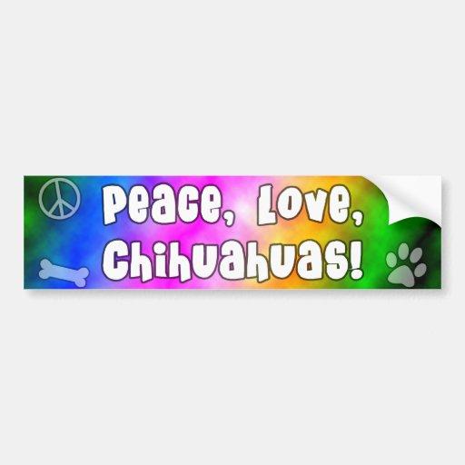 Peace Love Chihuahuas Bumper Sticker