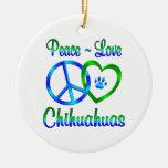 Peace Love Chihuahuas Christmas Ornaments