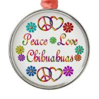 PEACE LOVE CHIHUAHUAS CHRISTMAS TREE ORNAMENT