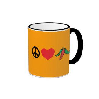 Peace Love Chile Peppers Ringer Mug