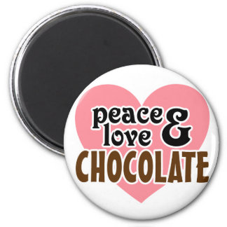 Peace, Love & Chocolate 2 Inch Round Magnet