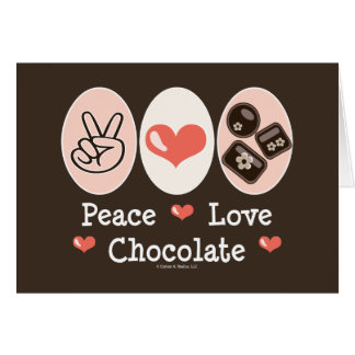 Peace Love Chocolate Blank Greeting Card