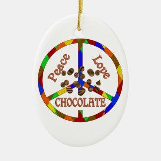 Peace Love Chocolate Ceramic Ornament