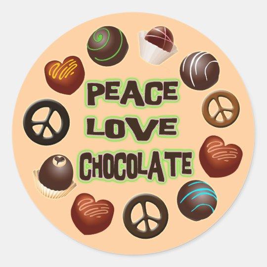 PEACE LOVE CHOCOLATE CLASSIC ROUND STICKER