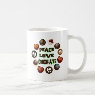 PEACE LOVE CHOCOLATE COFFEE MUG