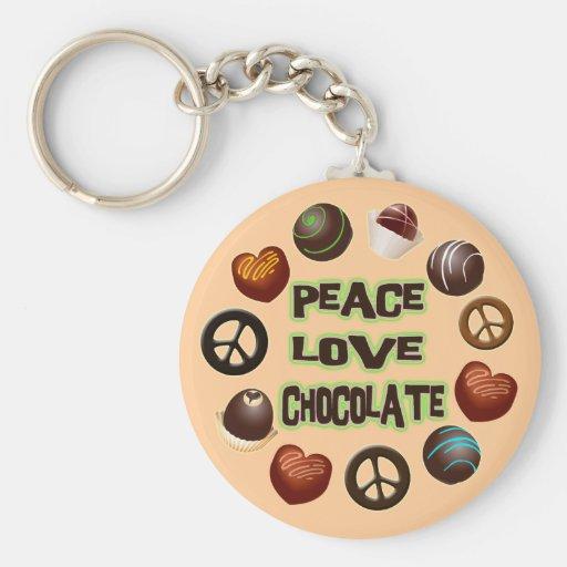 PEACE LOVE CHOCOLATE KEYCHAINS