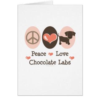 Peace Love Chocolate Labs Greeting Card