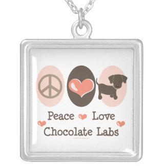 Peace Love Chocolate Labs Necklace