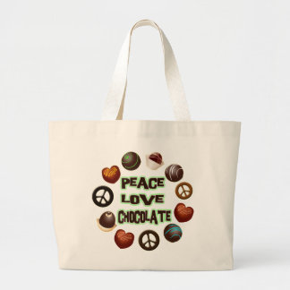 PEACE LOVE CHOCOLATE LARGE TOTE BAG