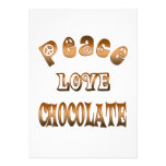 PEACE LOVE CHOCOLATE PERSONALIZED ANNOUNCEMENTS