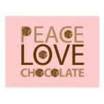 Peace Love Chocolate Postcard