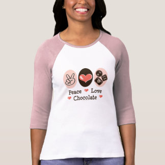 Peace Love Chocolate Raglan T shirt