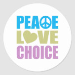 Peace Love Choice Round Stickers
