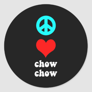 Peace love Chow Chow Classic Round Sticker
