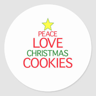 Peace Love Christmas Cookies Classic Round Sticker