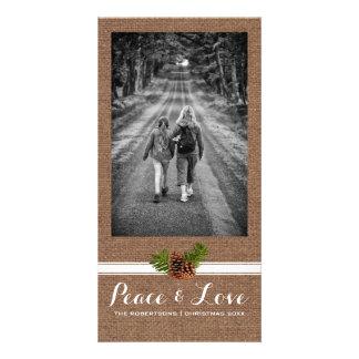 Peace Love Christmas Full Photo Burlap Pinecones Card