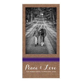 Peace Love Christmas Full Photo Burlap Purple Belt Card