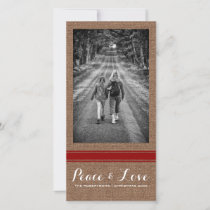 Peace Love Christmas Full Photo Burlap Red Belt Holiday Card