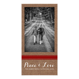 Peace Love Christmas Full Photo Burlap Red Belt Photo Card