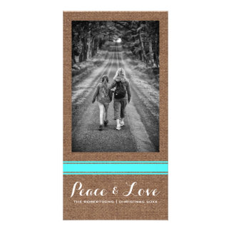 Peace Love Christmas Full Photo Burlap Teal Belt Card