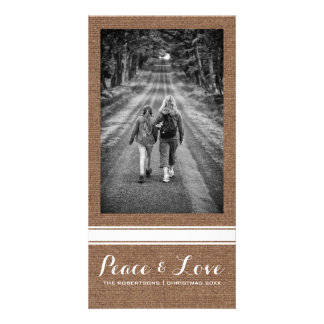 Peace Love Christmas Full Photo Burlap White Belt Card