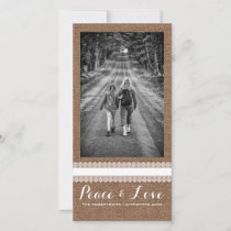 Peace Love Christmas Full Photo Burlap White Lace Holiday Card
